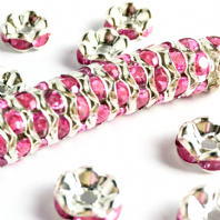 40 Rhinestone rondelle spacer beads  8mm Rose